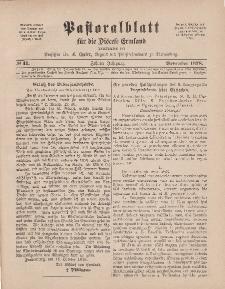 Pastoralblatt für die Diözese Ermland, 10.Jahrgang, 1. November 1878, Nr 11.