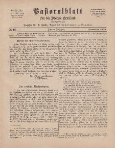 Pastoralblatt für die Diözese Ermland, 10.Jahrgang, 1. Dezember 1878, Nr 12.