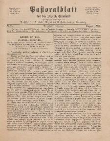 Pastoralblatt für die Diözese Ermland, 13.Jahrgang, August 1881, Nr 8.