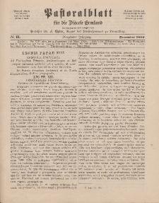 Pastoralblatt für die Diözese Ermland, 14.Jahrgang, November 1882, Nr 11.