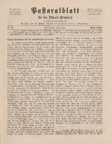 Pastoralblatt für die Diözese Ermland, 15.Jahrgang, 1. Mai 1883. Nr 5