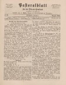 Pastoralblatt für die Diözese Ermland, 15.Jahrgang, 1. August 1883. Nr 8