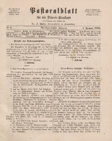 Pastoralblatt für die Diözese Ermland, 21.Jahrgang, 1. Januar 1889, Nr 1.