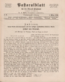 Pastoralblatt für die Diözese Ermland, 21.Jahrgang, 1. März 1889, Nr 3.