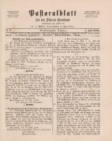 Pastoralblatt für die Diözese Ermland, 21.Jahrgang, 1. Juli 1889, Nr 7.