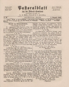 Pastoralblatt für die Diözese Ermland, 22.Jahrgang, 1. August 1890, Nr 8.
