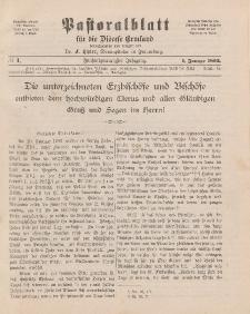 Pastoralblatt für die Diözese Ermland, 25.Jahrgang, 1. Januar 1893, Nr 1.