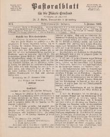 Pastoralblatt für die Diözese Ermland, 26.Jahrgang, 1. Januar 1894, Nr 1.