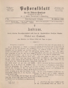 Pastoralblatt für die Diözese Ermland, 29.Jahrgang, 23. Februar 1897, Nr 3.