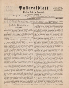 Pastoralblatt für die Diözese Ermland, 17.Jahrgang, Mai 1885, Nr 5.