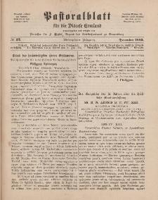 Pastoralblatt für die Diözese Ermland, 17.Jahrgang, Dezember 1885, Nr 12.