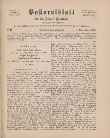 Pastoralblatt für die Diözese Ermland, 31.Jahrgang, 1. November 1899, Nr 11.