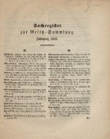 Gesetz-Sammlung für die Königlichen Preussischen Staaten, (Sachregister), 1862