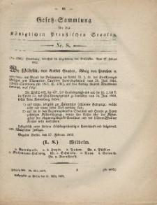Gesetz-Sammlung für die Königlichen Preussischen Staaten, 11. März, 1862, nr. 8.
