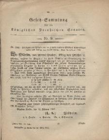 Gesetz-Sammlung für die Königlichen Preussischen Staaten, 24. März, 1862, nr. 9.