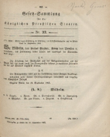 Gesetz-Sammlung für die Königlichen Preussischen Staaten, 26. September, 1862, nr. 33.