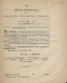 Gesetz-Sammlung für die Königlichen Preussischen Staaten, 30. Dezember, 1862, nr. 42.