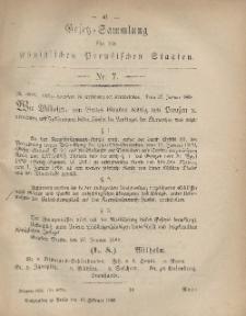 Gesetz-Sammlung für die Königlichen Preussischen Staaten, 10. Februar, 1868, nr. 7.
