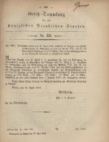 Gesetz-Sammlung für die Königlichen Preussischen Staaten, 25. Mai, 1868, nr. 33.