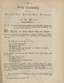 Gesetz-Sammlung für die Königlichen Preussischen Staaten, 29. Juni, 1868, nr. 43.