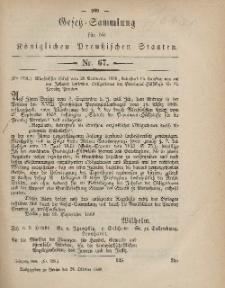 Gesetz-Sammlung für die Königlichen Preussischen Staaten, 24. Oktober, 1868, nr. 67.