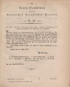 Gesetz-Sammlung für die Königlichen Preussischen Staaten, 13. April, 1864, nr. 10.