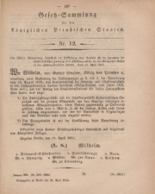Gesetz-Sammlung für die Königlichen Preussischen Staaten, 26. April, 1864, nr. 12.
