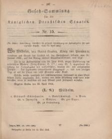 Gesetz-Sammlung für die Königlichen Preussischen Staaten, 14. Mai, 1864, nr. 15.