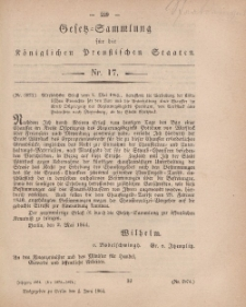 Gesetz-Sammlung für die Königlichen Preussischen Staaten, 1. Juni, 1864, nr. 17.