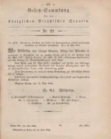 Gesetz-Sammlung für die Königlichen Preussischen Staaten, 18. Juni, 1864, nr. 21.