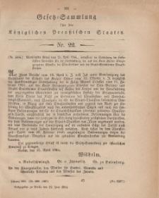 Gesetz-Sammlung für die Königlichen Preussischen Staaten, 22. Juni, 1864, nr. 22.