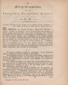 Gesetz-Sammlung für die Königlichen Preussischen Staaten, 28. Juli, 1864, nr. 28.
