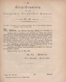 Gesetz-Sammlung für die Königlichen Preussischen Staaten, 11. August, 1864, nr. 31.