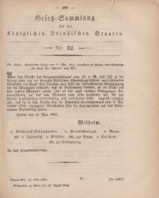 Gesetz-Sammlung für die Königlichen Preussischen Staaten, 23. August, 1864, nr. 32.