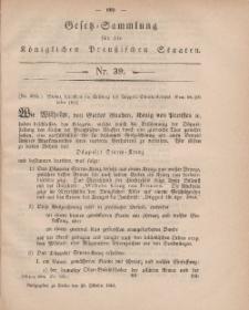 Gesetz-Sammlung für die Königlichen Preussischen Staaten, 20. Oktober, 1864, nr. 39.