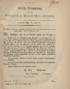Gesetz-Sammlung für die Königlichen Preussischen Staaten, 6. Januar, 1869, nr. 1.