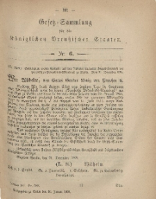 Gesetz-Sammlung für die Königlichen Preussischen Staaten, 20. Januar, 1869, nr. 6.