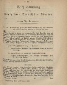 Gesetz-Sammlung für die Königlichen Preussischen Staaten, 25. Januar, 1869, nr. 7.