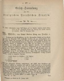 Gesetz-Sammlung für die Königlichen Preussischen Staaten, 27. Januar, 1869, nr. 8.