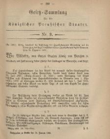 Gesetz-Sammlung für die Königlichen Preussischen Staaten, 28. Januar, 1869, nr. 9.