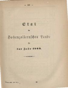 Gesetz-Sammlung für die Königlichen Preussischen Staaten (Etat der Hohenzollernschen Lande für das Jahr 1869)