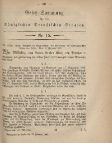 Gesetz-Sammlung für die Königlichen Preussischen Staaten, 16. Februar, 1869, nr. 15.