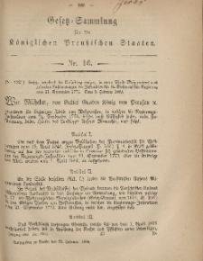 Gesetz-Sammlung für die Königlichen Preussischen Staaten, 22. Februar, 1869, nr. 16.