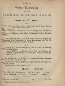 Gesetz-Sammlung für die Königlichen Preussischen Staaten, 25. Februar, 1869, nr. 17.