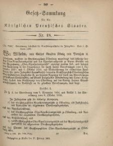 Gesetz-Sammlung für die Königlichen Preussischen Staaten, 27. Februar, 1869, nr. 18.