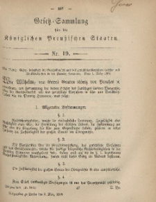 Gesetz-Sammlung für die Königlichen Preussischen Staaten, 2. März, 1869, nr. 19.