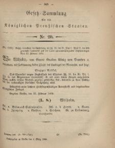 Gesetz-Sammlung für die Königlichen Preussischen Staaten, 4. März, 1869, nr. 20.