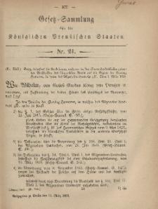 Gesetz-Sammlung für die Königlichen Preussischen Staaten, 10. März, 1869, nr. 21.