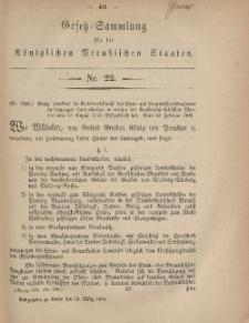 Gesetz-Sammlung für die Königlichen Preussischen Staaten, 15. März, 1869, nr. 22.