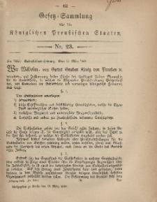 Gesetz-Sammlung für die Königlichen Preussischen Staaten, 19. März, 1869, nr. 23.